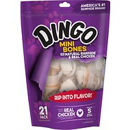 Dingo Naturals Mini Chicken & Rawhide Dog Bone, 21 count