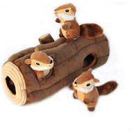 ZippyPaws Burrow Squeaky Hide & Seek Plush Dog Toy, Log & Chipmunks