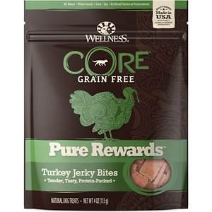 Wellness CORE Pure Rewards Grain-Free Turkey Jerky Bites Dog Treats, 4-oz bag; Wellness CORE Pure Rewards Grain-Free Turkey Jerky Bites are a hearty lean snack made with real turkey. This yummy treat is free from meat by-products, artificial colors and artificial flavors. With a bold natural taste and big on nutrition pups all around give Wellness Jerky Bites two paws up! Each tender nugget contains minimal ingredients and is packed with protein, perfect for training.