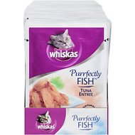 Whiskas Purrfectly Fish Tuna Entree Cat Food Pouches, 3-oz, case of 24
