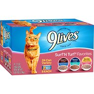 9 Lives Surf 'N Turf Favorites Variety Canned Cat Food, 5.5-oz, case of 24