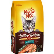 Meow Mix Bistro Recipes Grilled Salmon Flavor Dry Cat Food, 3-lb bag