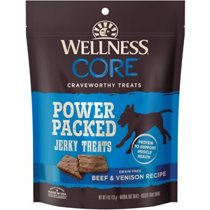 Wellness CORE Pure Rewards Grain-Free Beef & Venison Jerky Bites Dog Treats, 4-oz bag; Wellness CORE Pure Rewards Grain-Free Beef & Venison Jerky Bite are a hearty lean snack made with real beef and venison. This yummy treat is free from meat by-products, artificial colors and artificial flavors. With a bold natural taste and big on nutrition pups all around give Wellness Jerky Bites two paws up! Each tender nugget contains minimal ingredients and is packed with protein, perfect for training.