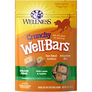 Wellness Crunchy WellBars Lamb & Apples Recipe Baked Grain-Free Dog Treats, 8-oz bag