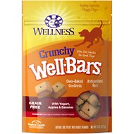 Wellness Crunchy WellBars Yogurt, Apples & Bananas Recipe Grain-Free Dog Treats, 8-oz bag