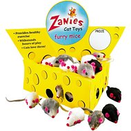 Zanies Furry Mice Cat Toys, Realistic Colors, 60-count