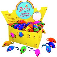 Zanies Furry Mice Cat Toys, Rainbow, 60-count