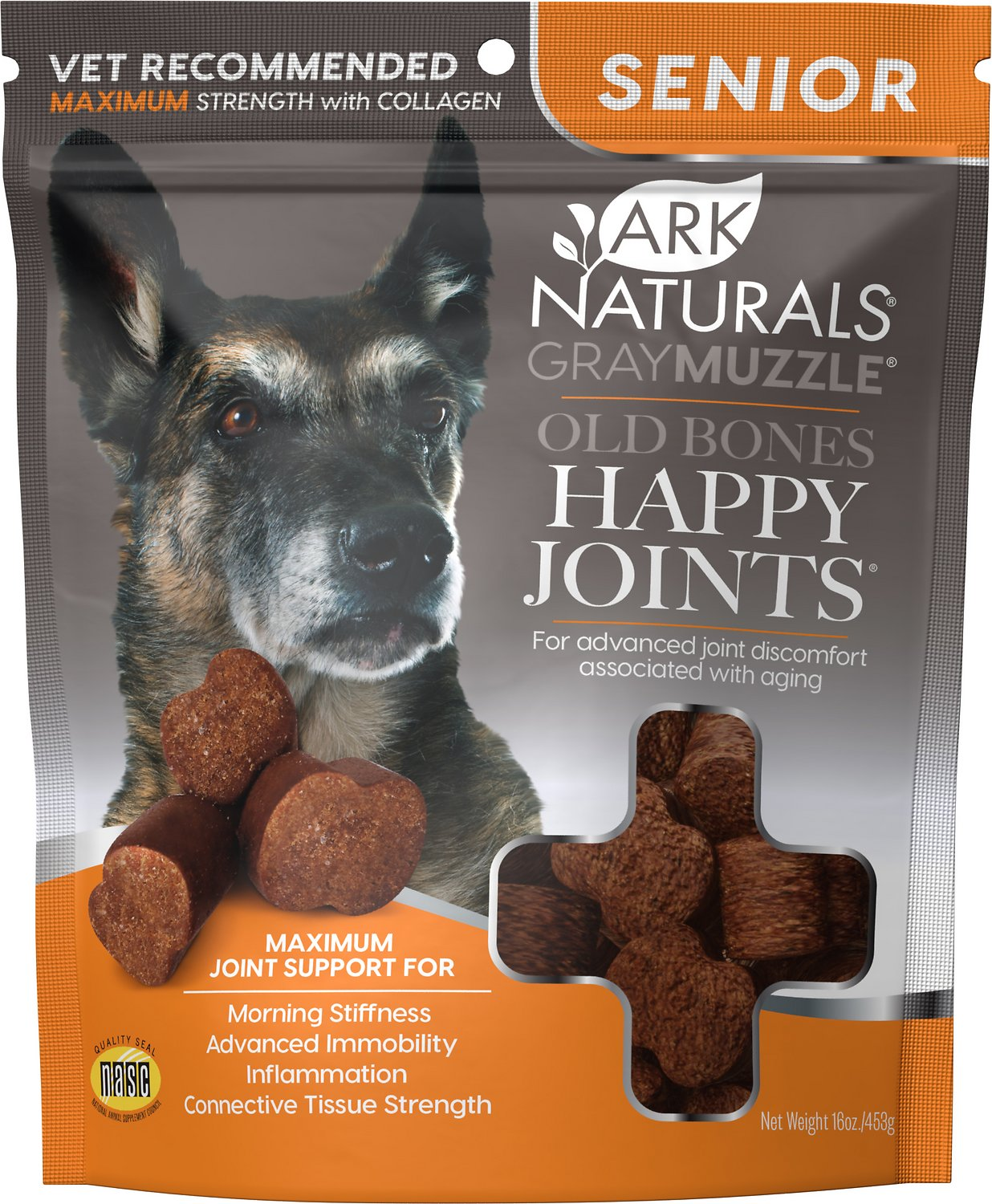 Ark Naturals Gray Muzzle Old Dogs! Happy Joints! Large Breed Maximum  Strength Dog Treats, 16-oz bag - Chewy.com