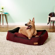 P.L.A.Y. Pet Lifestyle and You Houndstooth Lounge Bed, Red/Black, Large