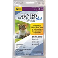 Sentry FiproGuard Plus Flea & Tick Squeeze-On for Cats Over 1.5 lbs, 6 treatments