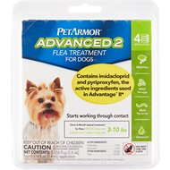 PetArmor Advanced 2 Flea Treatment for  Small Dogs 3-10 lbs, 4 treatments
