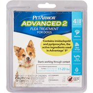PetArmor Advanced 2 Flea Treatment for  Medium Dogs 11-20 lbs, 4 treatments
