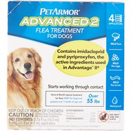 PetArmor Advanced 2 Flea Treatment for Extra Large Dogs Over 55 lbs, 4 treatments