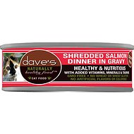 Dave's Pet Food Naturally Healthy Grain-Free Shredded Salmon Dinner in Gravy Canned Cat Food, 5.5 oz, case of 24