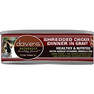 Dave's Pet Food Naturally Healthy Grain-Free Shredded Chicken Dinner in Gravy Canned Cat Food, 5.5-oz, case of 24
