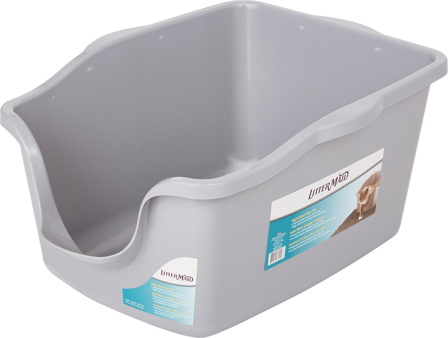 Littermaid High Sided Cat Litter Pan Silver Chewy Com