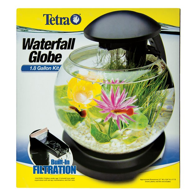 Tetra waterfall globe aquarium 1 8 gal for Filtre aquarium rond