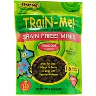 Crazy Dog Train-Me! Grain-Free Minis Bacon Flavor Dog Treats, 3.5-oz bag
