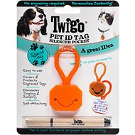 Twigo Pet ID Tags Silencer Pocket for Cats & Dogs, Orange