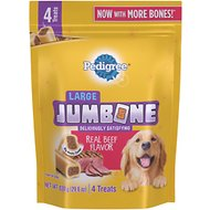 Pedigree Large Jumbone Real Beef Flavor Dog Treat, 4 count