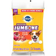 Pedigree Medium Jumbone Real Bacon Flavor Dog Treats, 3 count