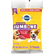 Pedigree Medium Jumbone Real Beef Flavor Dog Treats, 3 count