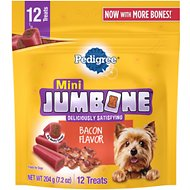 Pedigree Mini Jumbone Real Bacon Flavor Dog Treats, 12 count