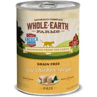 Whole Earth Farms Grain-Free Real Chicken Pate Recipe Canned Cat Food, 12.7-oz, case of 12