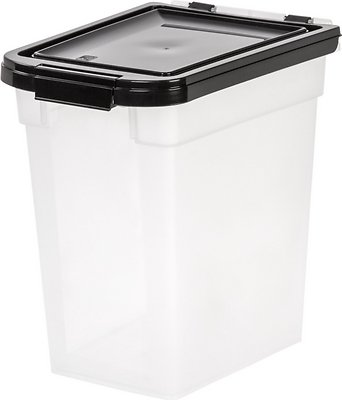 IRIS Airtight Pet Food Storage Container, Clear/Black, 12.75 Qt   Chewy.com