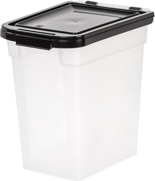 iris airtight pet food storage container clear black. Black Bedroom Furniture Sets. Home Design Ideas