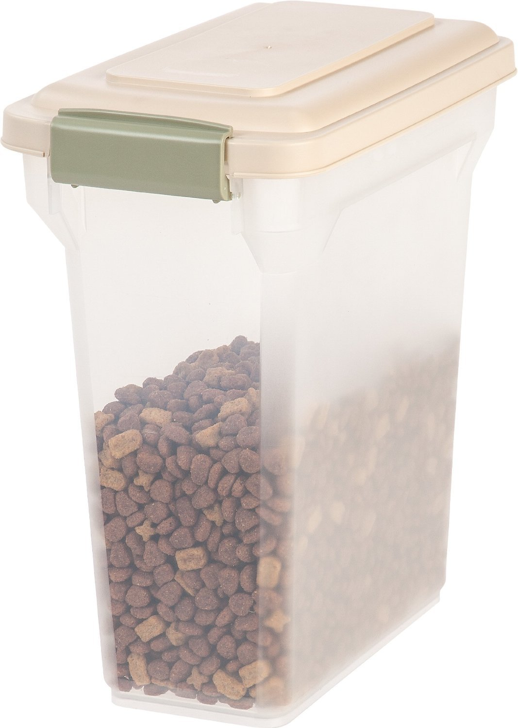 Iris Airtight Pet Food Storage Container Clear Almond 15 Qt