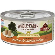 Whole Earth Farms Grain-Free Real Chicken & Salmon Pate Recipe Canned Cat Food, 2.75-oz, case of 24