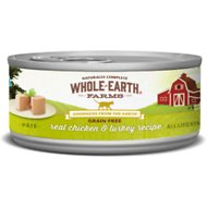 Whole Earth Farms Grain-Free Real Chicken & Turkey Pate Recipe Canned Cat Food, 2.75-oz, case of 24