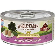 Whole Earth Farms Grain-Free Healthy Kitten Pate Recipe Canned Cat Food, 5-oz, case of 24