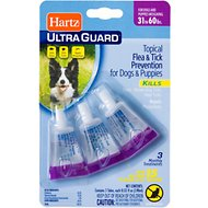 Hartz UltraGuard Flea & Tick Treatment for Dogs & Puppies 31-60 lbs, 3 treatments