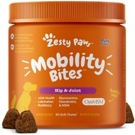 Zesty Paws Mobility Bites Hip & Joint Support Chews with Glucosamine, Chondroitin & MSM for Dogs & Cats, 90 count
