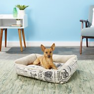 OxGord 1800's Newspaper Short Velvet Pet Bed, Medium