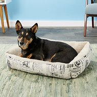 OxGord 1800's Newspaper Short Velvet Pet Bed, Large