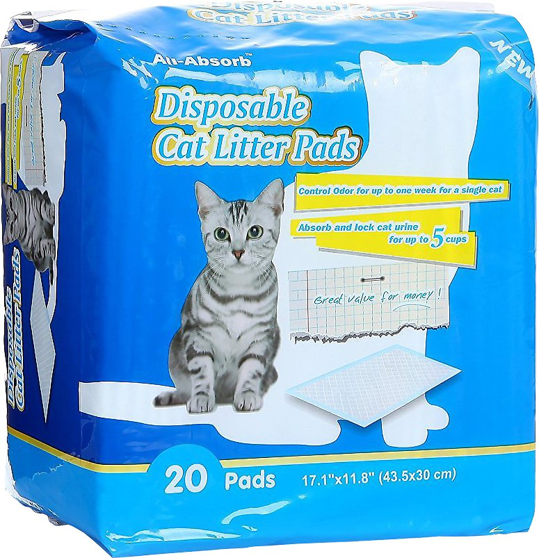 All Absorb Disposable Cat Litter Pads 20 Count Chewy Com