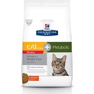 Hill's Prescription Diet Metabolic + Urinary Stress, Weight + Urinary Care Chicken Flavor Dry Cat Food, 6.35-lb bag