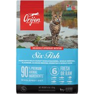 Orijen 6 Fish Grain-Free Formula Dry Cat Food, 4-lb bag
