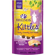 Wellness Kittles Grain-Free Whitefish & Cranberries Recipe Crunchy Cat Treats, 2-oz bag