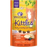 Wellness Kittles Grain-Free Turkey & Cranberries Recipe Crunchy Cat Treats, 2-oz bag
