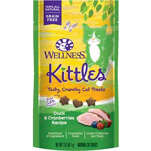 Wellness Kittles Grain-Free Duck & Cranberries Recipe Crunchy Cat Treats, 2-oz bag; Treat your kitty to a tasty treat he can really savor with the Wellness Kittles Grain-Free Duck & Cranberries Recipe Crunchy Cat Treats. Made with high-protein duck as the first ingredient plus wholesome goodies like peas, blueberries and cranberries, it satisfies your pal's munchies while adding a boost of nutrition in every crunchy bite. Plus, the crunchy texture supports healthy teeth by helping to scrape tartar and clean teeth as your kitty chews.  And at less than 2 calories per treat, it's great for anytime snacking or anytime your buddy deserves a scrumptious reward. Give them straight out of the package or toss them to give your kitty the tasty thrill of the chase!