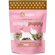 Sojos Simply Beef & Venison Puppy Freeze-Dried Raw Dog Treats, 2.5-oz bag
