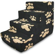 Best Pet Supplies Foam Pet Stairs, Beige Paw on Black, 4-Step