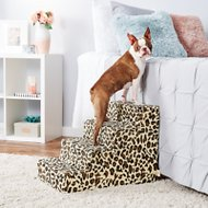 Best Pet Supplies Foam Pet Stairs, Animal Print, 4-Step