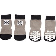 Petego Traction Control Indoor Dog Socks, Black/Gray, Large