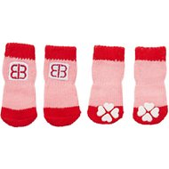 Petego Traction Control Indoor Dog Socks, Red/Pink, X-Small