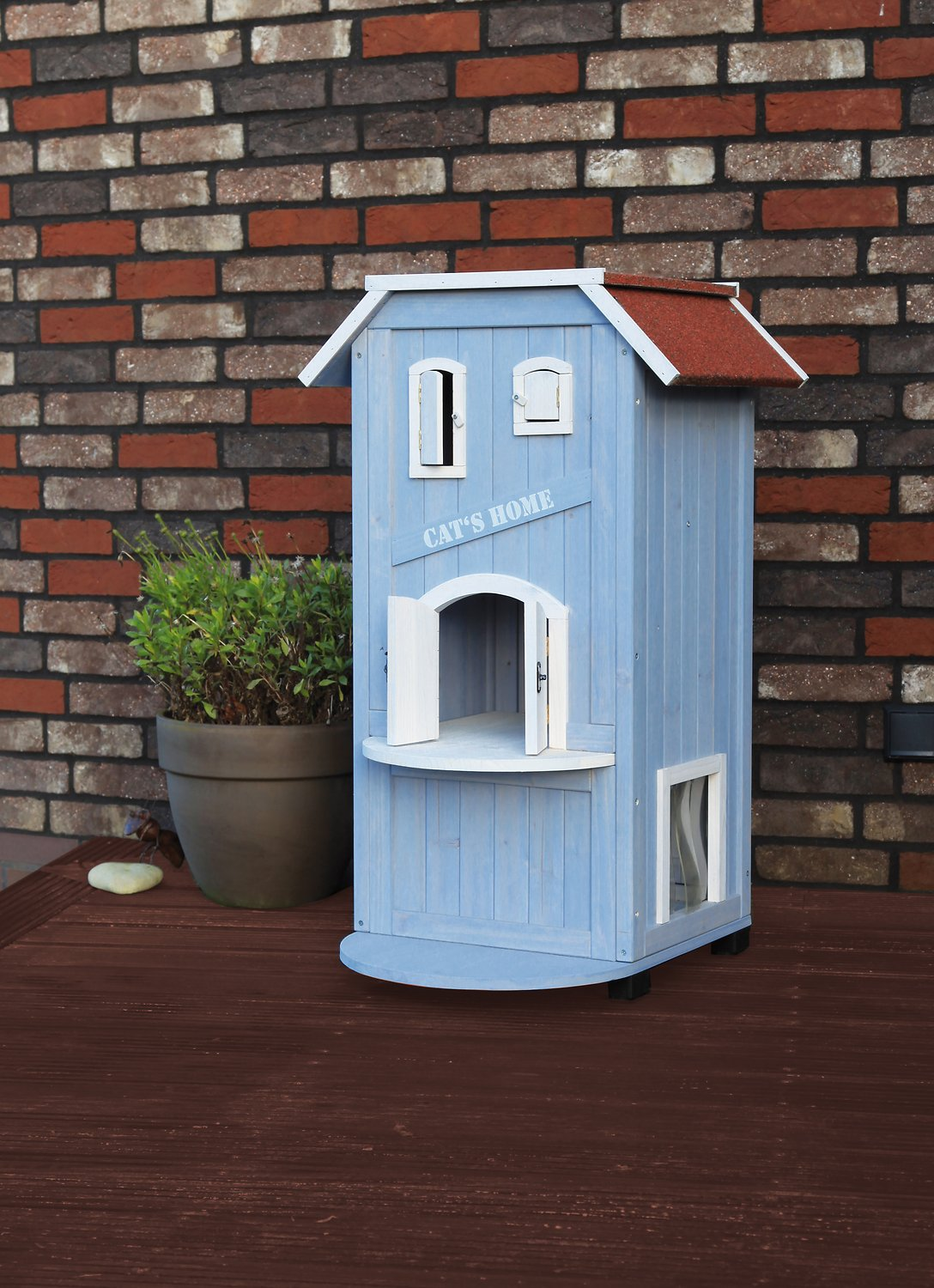 Outdoor Cat House Design Plans: Trixie 3-Story Wooden Outdoor Cat Home, 37-in